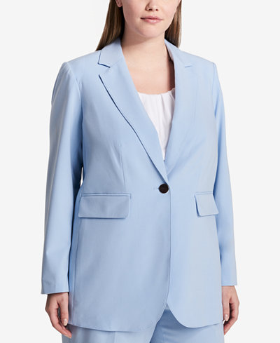 Calvin Klein Plus Size Single-Button Blazer