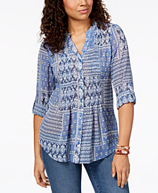 Style & Co Petite Printed Pleated Top, Created for Macy's
