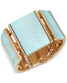 Robert Lee Morris Soho Gold-Tone Imitation Mother-of-Pearl Stretch Bracelet