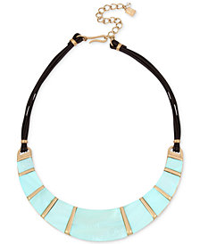 "Robert Lee Morris Soho Gold-Tone Imitation Mother-of-Pearl & Leather Statement Necklace, 15"" + 3"" extender"
