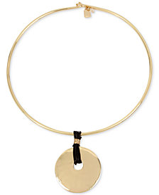 "Robert Lee Morris Soho Gold-Tone Disc & Leather 16"" Pendant Necklace"