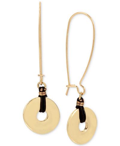 Robert Lee Morris Soho Gold-Tone Disc & Leather Drop Earrings