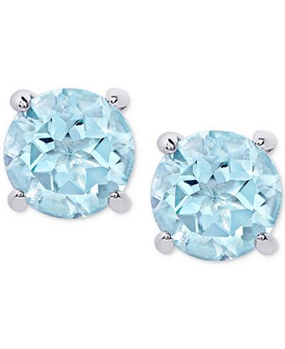 Blue Topaz Stud Earrings (2 ct. t.w.) in Sterling Silver