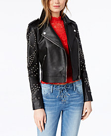 GUESS Studded Faux-Leather Moto Jacket