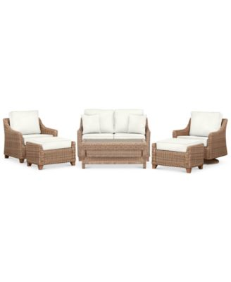 Willough Outdoor 6-Pc. Set (1 Loveseat, 1 Swivel Glider, 1 Club Chair, 1 Coffee Table & 2 Ottomans), Created for Macy's