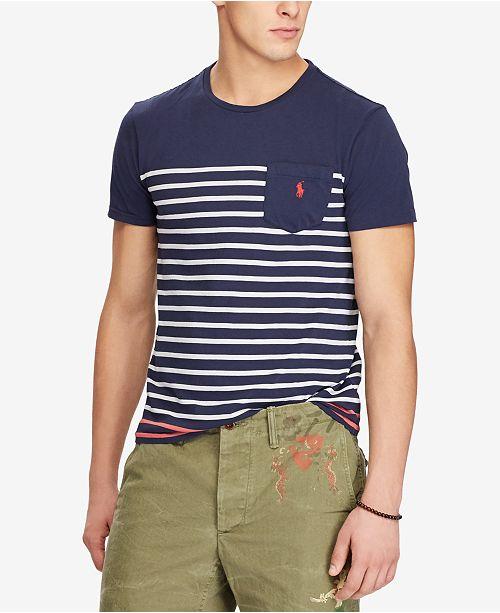 29e0d26970f8 Polo Ralph Lauren Men s Classic Fit Striped Pocket T-Shirt   Reviews ...