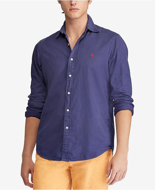 0a56004f1 Polo Ralph Lauren Men's Slim Fit Garment Dyed Chino Shirt & Reviews