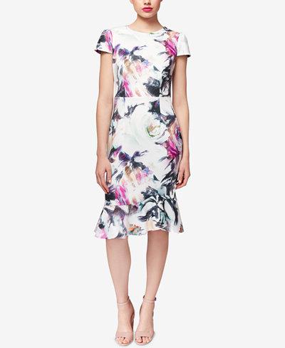 Betsey Johnson Floral-Print Ruffle-Hem Dress