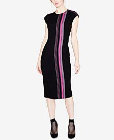 RACHEL Rachel Roy Tweed Striped Midi Dress