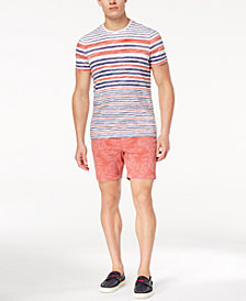 "Michael Kors Men's Textured Reverse Stripe T-Shirt & Classic-Fit Stretch Floral-Print 7"" Shorts"