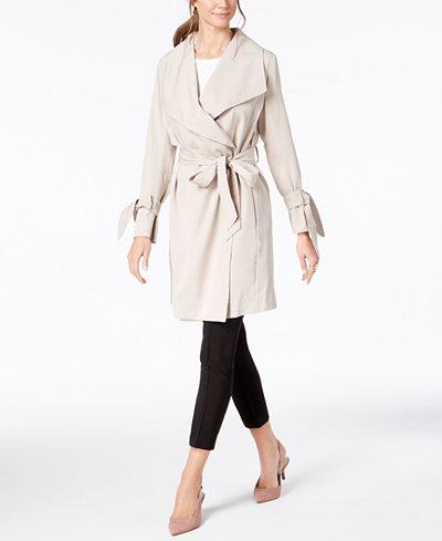Alfani Petite Draped Trench Coat, Created for Macy's