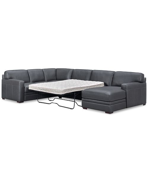 Furniture Avenell 3-Pc. Leather Sectional with Full Sleeper Sofa ...