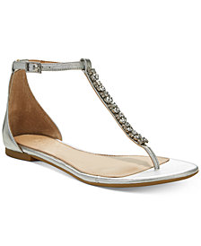 Jewel Badgley Mischka Gaby Flat Evening Sandals, Created for Macy's