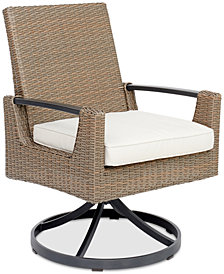CLOSEOUT! Genevieve Outdoor Aluminum & Wicker Swivel Rocker with Sunbrella® Cushion, Created for Macy's