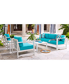 CLOSEOUT! Aruba Blue Outdoor Seating Collection, with Sunbrella® Cushions, Created for Macy's