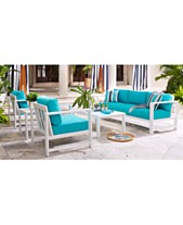 Aruba Blue Outdoor Seating Collection With Sunbrella Cushions Created For Macy S