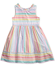 Sweet Heart Rose Rainbow Striped Dress, Little Girls