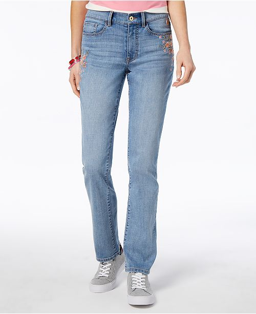 Tommy Hilfiger Embroidered Straight-Leg Jeans