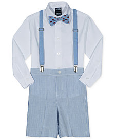 Nautica 4-Pc. Shirt, Shorts, Suspenders & Crab-Print Bowtie Set, Little Boys