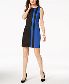 Ellen Tracy Petite Striped Jacquard Sheath Dress