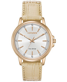 Citizen Eco-Drive Women's Chandler Beige Leather Strap Watch 37mm