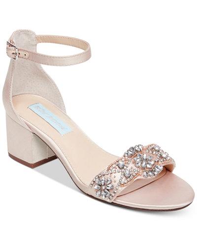 Blue by Betsey Johnson Mel Block-Heel Embellished Sandals