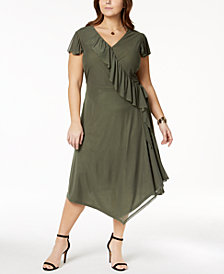 Love Scarlett Plus Size Flutter-Sleeve Wrap Dress