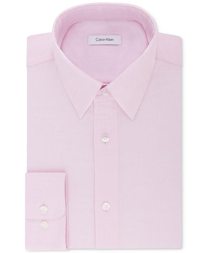 Calvin Klein - Men's STEEL Classic/Regular Fit Non-Iron Performance Stretch Pattern Dress Shirt