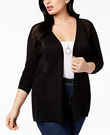 Belldini Plus Size Sheer-Panel Cardigan