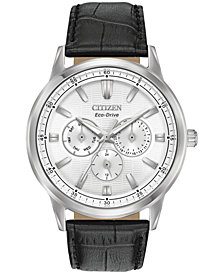 Citizen Eco-Drive Men's Corso Black Leather Strap Watch 44mm