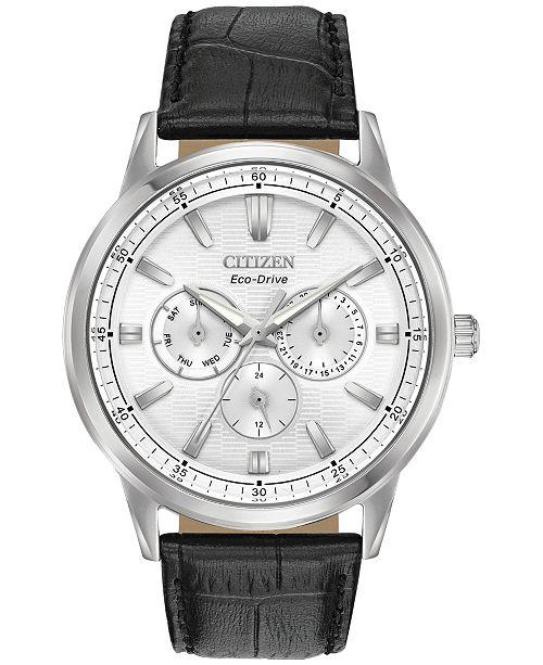 48a3ec529 Citizen Eco-Drive Men's Corso Black Leather Strap Watch 44mm ...