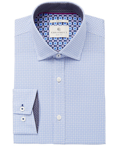 Con.Struct Men's Slim-Fit Stretch Blue Geometric Squares Dress Shirt, Created for Macy's