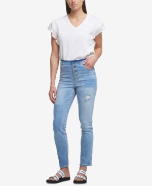 RIPPED BUTTON-FLY SKINNY JEANS
