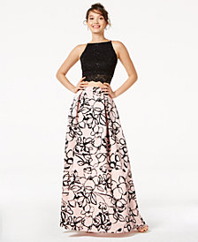 Jump Juniors' 2-Pc. Sequined Lace & Floral-Velvet Gown