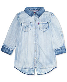 Levi's® Cotton Western Shirt, Big Girls