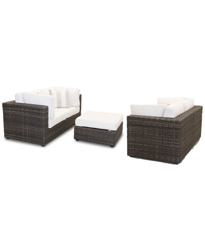 Viewport Outdoor 5 Pc Loveseat Modular Seating Set 2 Loveseats And 1 Ottoman
