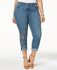 Style & Co Plus Size Embroidered Skinny Jeans, Created for Macy's