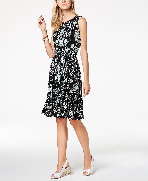 Petite Floral-Print A-Line Dress, Created for Macy's