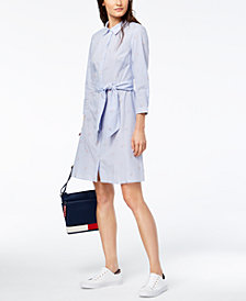 Tommy Hilfiger Cotton Embroidered-Stripe Tie-Belt Shirtdress
