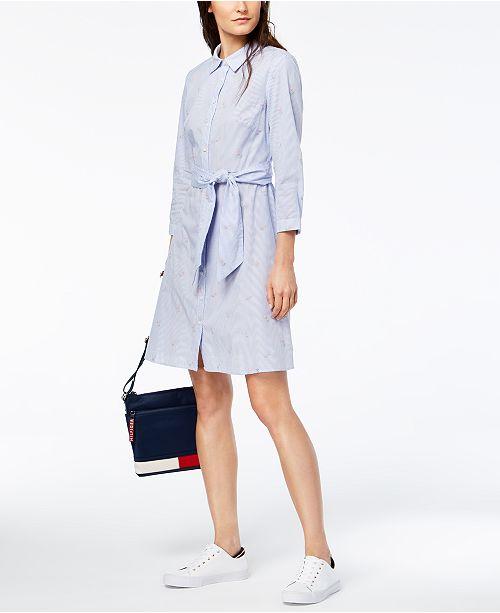 ... Tommy Hilfiger Cotton Embroidered-Stripe Tie-Belt Shirtdress ... 00e7446daa