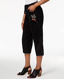 Style & Co Bloomfields Embroidered Cargo Capri Pants, Created for Macy's