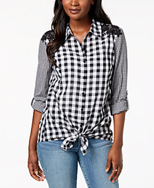 Style & Co Petite Mixed-Print Tie-Hem Shirt, Created for Macy's