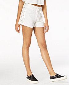 Material Girl Juniors' Lace-Up Drawstring-Waist Shorts, Created for Macy's