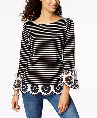 Charter Club Striped Eyelet-Contrast Top, Created for Macy's