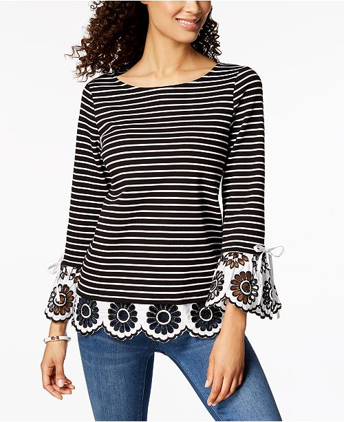 Striped Eyelet-Contrast Top, Created for Macy's