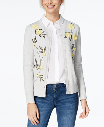 Charter Club Floral Appliqué Cardigan, Created for Macy's