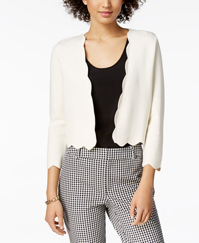 Charter Club Cropped Scalloped Cardigan, Created for Macy's