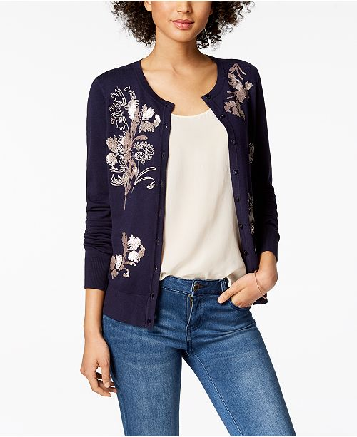 Blue Created Cardigan Sequined Charter Macy's Intrepid for Embroidered Club qx48w7g