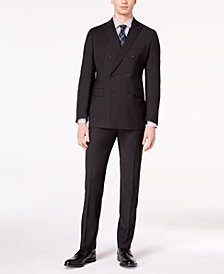 Michael Kors Men's Classic-Fit Black Textured Stripe Double-Breasted Suit