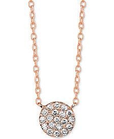 "Unwritten Cubic Zirconia Cluster Disc Pendant Necklace in Rose Gold-Flashed Sterling Silver 16"" + 2"" extender"